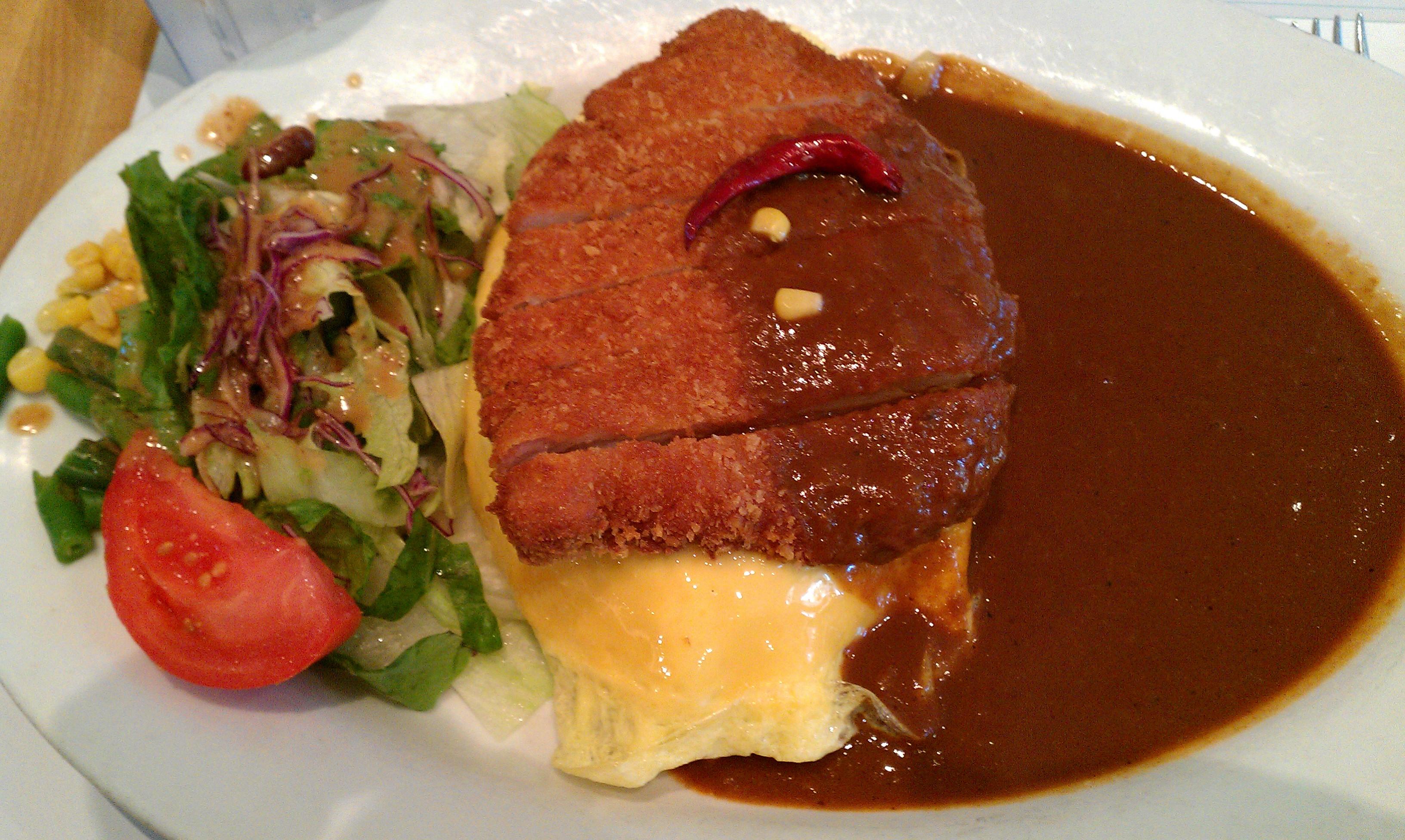 Pork Katsu Curry over Omurice!