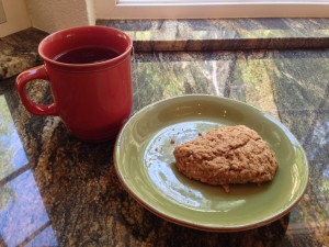 brown sugar cinnamon scone with a cup of tea