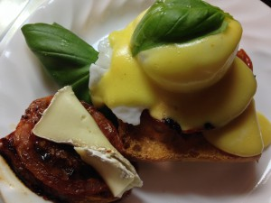 roasted tomato basil eggs benedict